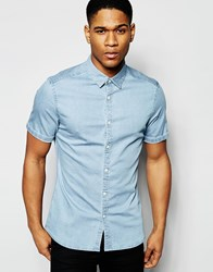 Asos Skinny Denim Shirt In Bleach Wash With Short Sleeves Blue