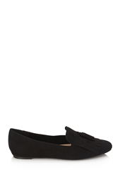 Forever 21 Tasseled Faux Suede Loafers Black