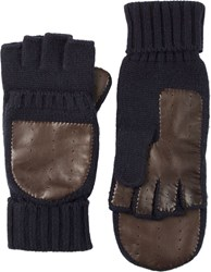 Barneys New York Knit And Leather Convertible Fingerless Gloves Blue