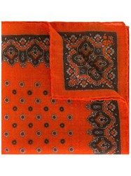Canali Patterned Pocket Handkerchief Yellow And Orange