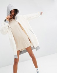 Asos Hooded Robe In Shearling Cream