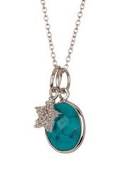 Argentovivo Sterling Silver Turquoise Star Pendant Necklace Blue