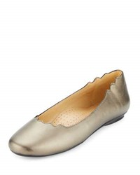 Neiman Marcus Seva Scalloped Leather Flat Pewter