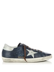 Golden Goose Super Star Low Top Leather Trainers Blue Multi