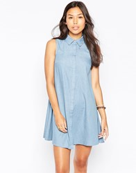 Influence Sleeveless Chambray Shirt Dress Blue