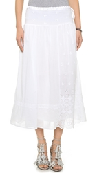 Burning Torch Ritual Embroidered Skirt White