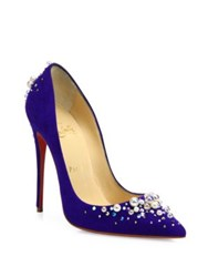 Christian Louboutin Canditate Pearly Suede Point Toe Pumps Black Purple Pop