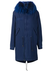 Mr And Mrs Italy Fur Collar Parka Blue