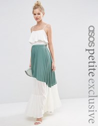 Asos Petite Pleated Maxi Skirt With Sheer Insert Detail Green