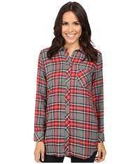 Kut From The Kloth Collin Grey Red Women's Long Sleeve Button Up Multi