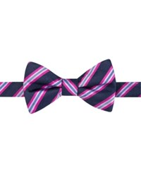 Countess Mara Men's Eugene Reversible Stripe Dot Pre Tied Bow Tie Navy Pink
