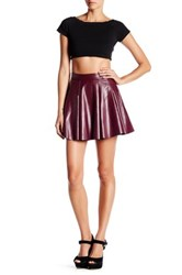 Necessary Objects Faux Leather Skater Skirt Red