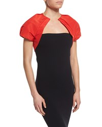 Monique Lhuillier Short Sleeve Structured Bolero Poppy