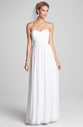Women's Donna Morgan 'Laura' Ruched Sweetheart Silk Chiffon Gown White Lily