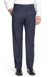 Zanella Men's 'Devon' Flat Front Plaid Wool Trousers Navy