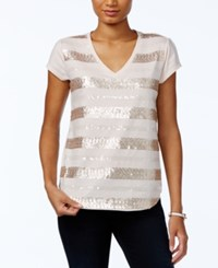 Tommy Hilfiger Sequin Striped V Neck Top Only At Macy's Barely Pink