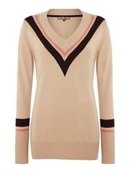 Biba Chevron Stripe V Neck Jumper Camel