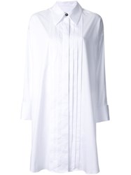 Maison Martin Margiela Mm6 Pleated Front Shirt Dress White