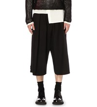 Isabel Benenato Relaxed Fit Wide Linen And Virgin Wool Shorts Black
