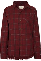 Current Elliott The Prep School Fringed Checked Cotton Blend Shirt Red