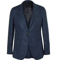 Caruso Navy Slim Fit Herringbone Linen Blazer Blue