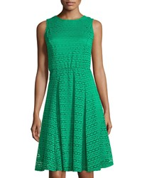 Neiman Marcus Lace Sleeveless Fit And Flare Dress Green