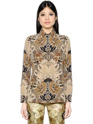 Etro Printed Silk Crepe Polo Shirt Brown Beige