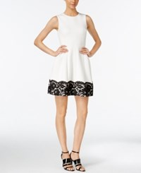 Calvin Klein Lace Fit And Flare Dress White Black