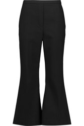 Iris And Ink Bell Cropped Crepe Flared Pants Black