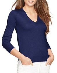 Lauren Ralph Lauren Petite V Neck Sweater Blue