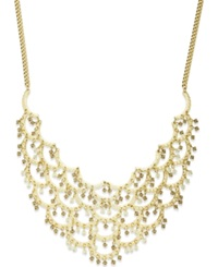 Bar Iii Gold Tone Beaded Scallop Bib Necklace