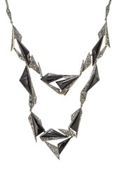 Alexis Bittar Necklace With Crystals And Opaque Stones Black