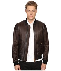 Dsquared Pilot Leather Bomber Brown Men's Coat