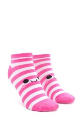 Forever 21 Striped Happy Face Ankle Socks Pink