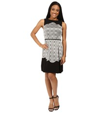 Tahari By Arthur S. Levine Petite Metallic Jacquard Fit And Flare With Scallop Detail Black Gold Silver Women's Dress