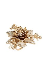 Marchesa Women's Crystal And Faux Pearl Flower Ring