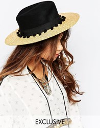 Catarzi Straw Hat With Contrast Black Crown And Pom Pom Trim Natural Black Beige