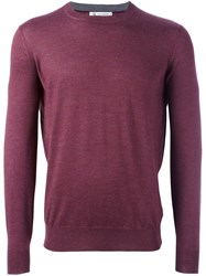 Brunello Cucinelli Crew Neck Fine Knit Jumper Pink And Purple