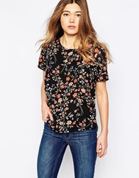Only Short Sleeve Floral T Shirt Black