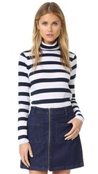 Club Monaco Jewelle Turtleneck White Navy Stripe