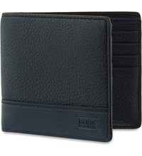 Hugo Boss Aspen Pebbled Leather Billfold Wallet Dark Blue
