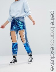 Liquor And Poker Petite Extreme Rip Skinny Jean With Sequin Inserts Blue