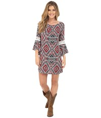 Rock And Roll Cowgirl Bell Sleeve Dress D4 6719 Red Women's Dress