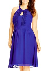 City Chic Plus Size Women's 'Summer Lace' Fit And Flare Dress Royal