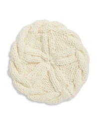 Collection 18 Cableknit And Ball Trimmed Knit Beret White