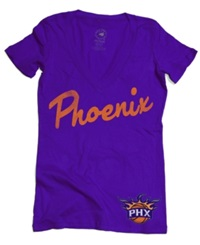 Sportiqe Women's Short Sleeve Phoenix Suns V Neck T Shirt Purple