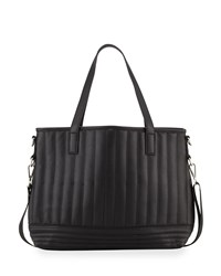 Neiman Marcus Linear Quilted Tote Bag Black