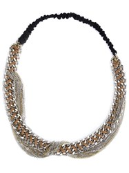 Maison Michel Chain Hairband Metallic