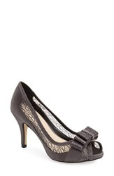 Women's Menbur 'Liatris' Lace Inset Bow Peep Toe Pump Grey