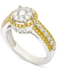 Macy's Diamond Cluster Engagement Ring 1 Ct. T.W. In 14K White Gold With Yellow Gold Plating Two Tone